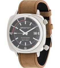 briston watches clubmaster diver stainless steel watch - brown
