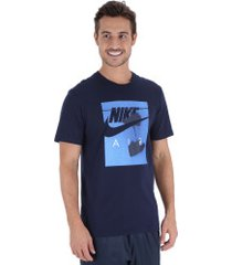 camiseta nike tee nike air f - masculina - azul escuro