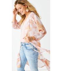 maurices womens pink tie dye tie waist kimono white