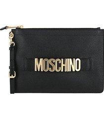 logo leather wristlet pouch