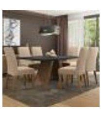 conjunto sala de jantar madesa antonela mesa tampo de madeira com 6 cadeiras - rustic/preto/imperial