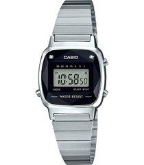 reloj casio retro digital la-670wad-1 plata