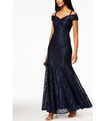 r & m richards off-the-shoulder petite lace gown