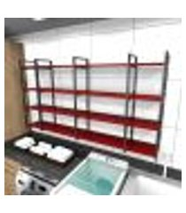 prateleira industrial lavanderia aço cor preto 180x30x98cm cxlxa cor mdf vermelho modelo ind57vrlav