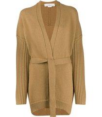golden goose textured-knit belted cardigan - neutrals