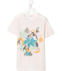 raspberry plum printed monkey t-shirt - white