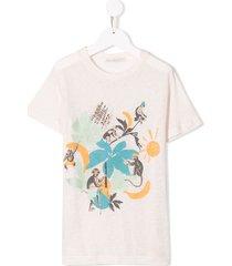 raspberry plum printed monkey t-shirt - white