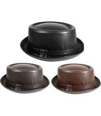porkpie pork pie fedora upturn short brim black brown faux leather hat
