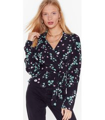 womens bud of been there floral wrap blouse - black