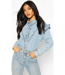 acid wash frill shoulder denim shirt, light blue