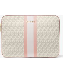 mk custodia per laptop da 15 jet set a righe con logo - vanilla/soft pink - michael kors