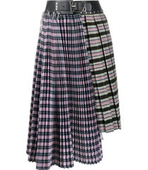 chopova lowena tartan-print asymmetric skirt - white