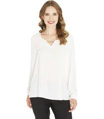 blusa manga larga lisa blanca lorenzo di pontti