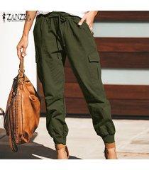 zanzea pantalón largo liso básico para mujer pantalones cónicos de moda para mujer -ejercito verde