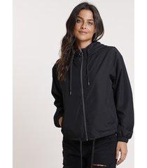 jaqueta corta vento feminina com capuz preto