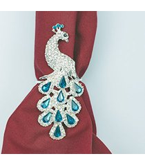 peacock napkin rings for christmas, holidays, dinners, parties - set of 4 napkin