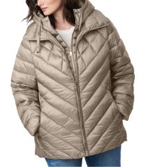 bernardo plus size bibbed hooded packable puffer coat