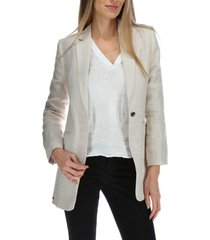 chaqueta lino mujer long blazer crudo rockford