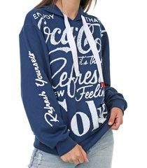 moletom fechado coca-cola jeans aroma azul