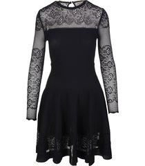 alexander mcqueen mini dress in black ottoman knit