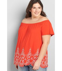 lane bryant women's off-the-shoulder swing top with printed hem 34/36 flame scarlet