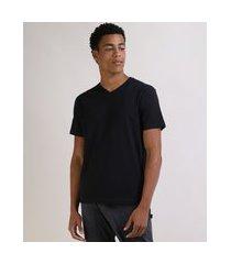 camiseta masculina básica manga curta gola v preta