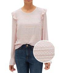 blusa con vuelos rosa gap