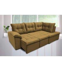 sofá retrátil cama com chaise napoles 2,48 x 1,50m suede amassado café - cama inbox