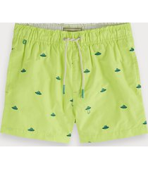 scotch & soda embroidered swim shorts