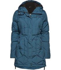 moseter down coat gevoerde lange jas blauw skogstad