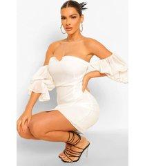 bardot sleeve draped mini dress, white