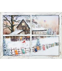 """trendy decor 4u snowman with sleds led light canvas by opportunties, printed wall art, ready to hang, window-style frame, 12"""" x 16"""""""