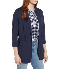 caslon(r) cinch waist knit jacket, size small in navy peacoat at nordstrom