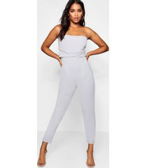 getailleerde geweven strapless slim fit jumpsuit, grijs