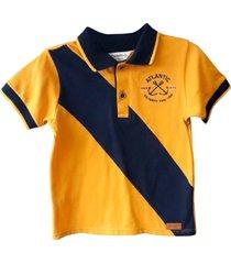 camiseta polo manga corta con bloque y bordado en frente