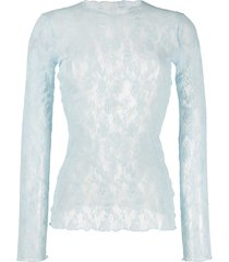 wolford katharina stretch-lace pullover - blue