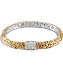 'classic chain' reversible diamond yellow gold silver bracelet