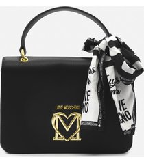 love moschino shoulder bag with foulard and logo detail