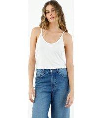 camiseta de mujer, silueta amplia crop, cuello redondo de tiras, color blanco