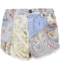 etro paisley print denim shorts