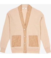 cardigan with silk details beige 46