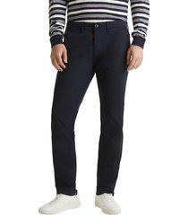 pantalón en sarga de algodón elástico azul oscuro esprit