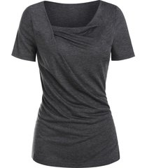 cowl neck heathered casual t-shirt