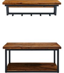 alaterre furniture claremont rustic wood coat hook and bench set