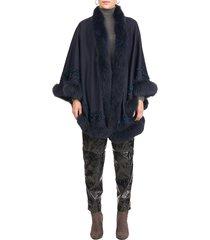 gorski women's fox fur-trim embroidered wool & cashmere cape - camel