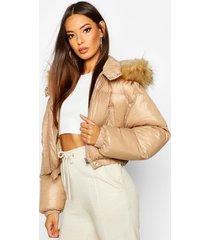cire crop faux fur hood puffer jacket, camel