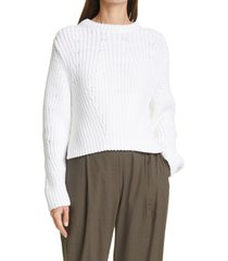 vince mirrored rib pullover, size x-large in white at nordstrom
