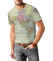antique world map 1913 mens cotton blend t-shirt