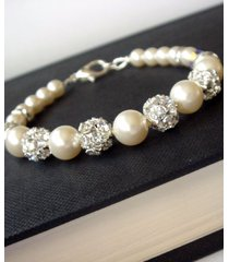 swarovski bridal pearl bracelet - rhinestone bridesmaid gift - flower girl b050