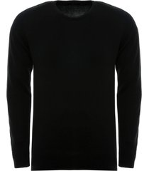 suéter anselmi decote careca preto